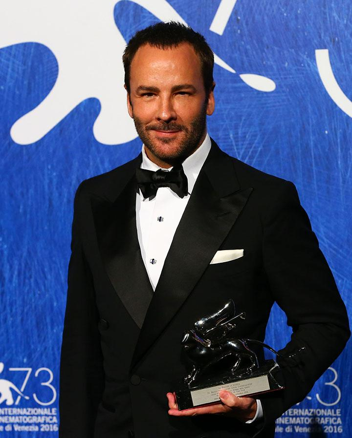 Director Tom Ford poses with the Silver Lion for Grand Jury Prize for Nocturnal Animals during the award winners photocall of the 73rd Venice Film Festival on Sept. 10, 2016 in Venice, Italy. (Xinhua/Sipa USA/TNS)
