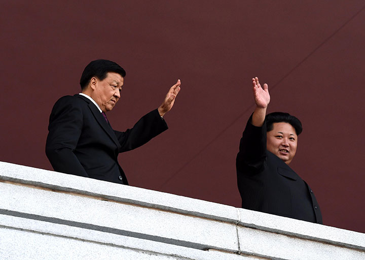 Liu+Yunshan%2C+left%2C+China%27s+Communist+Party%27s+fifth-ranking+leader%2C+waves+with+North+Korean+leader+Kim+Jong+Un+during+a+parade+in+Pyongyang%2C+North+Korea%2C+on+Oct.+10%2C+2015.+%28Rao+Aimin%2FXinhua%2FZuma+Press%2FTNS%29