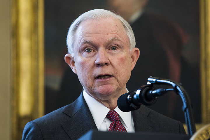 Attorney General Jeff Sessions speaks after Vice President Mike Pence swore Sessions in as the next attorney general in the Oval Office of the White House on February 9th, 2017 in Washington, D.C. (Jim LoScalzo/CNP/Zuma Press/TNS)