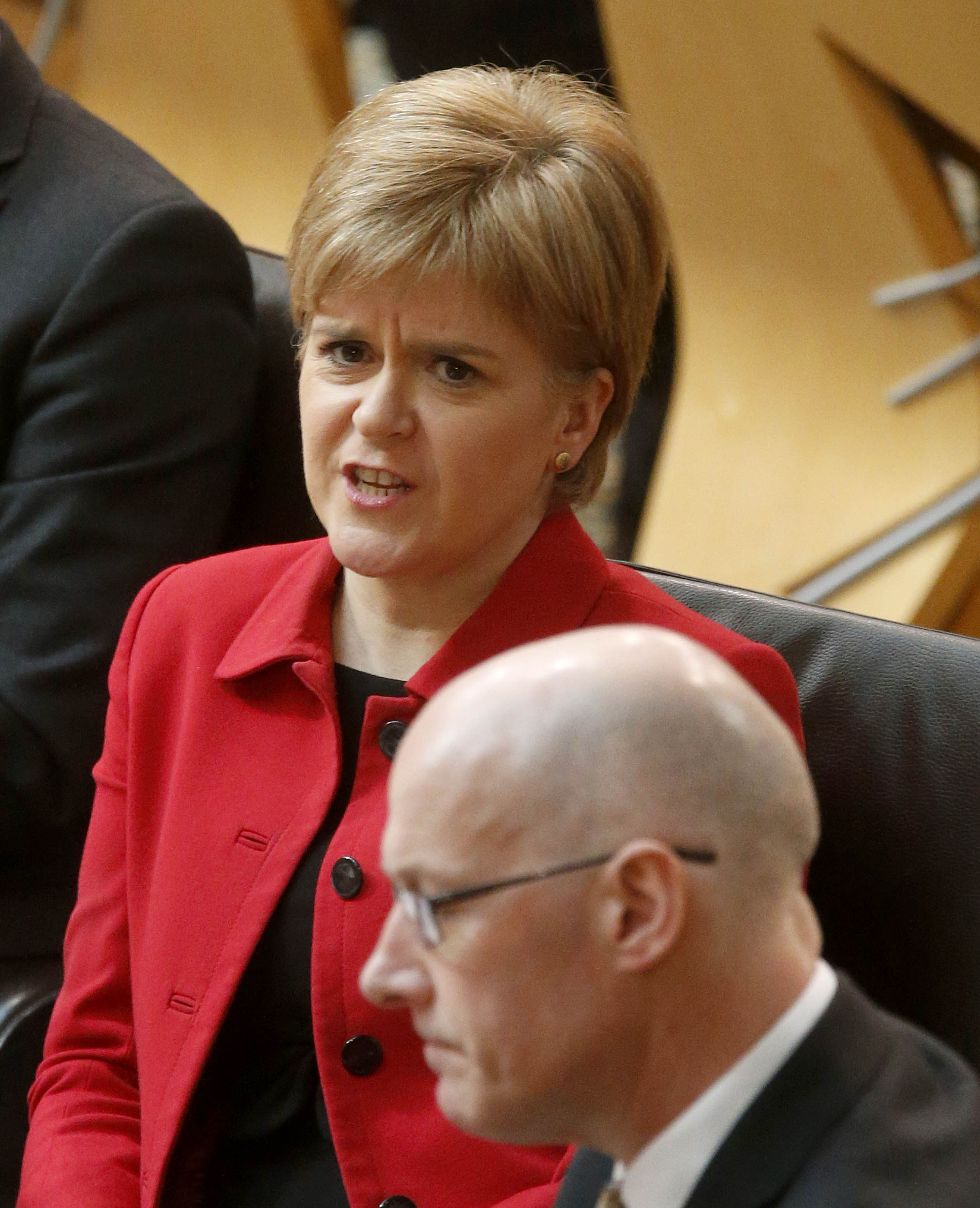 First Minister Nicola Sturgeon during the debate on a second referendum on independence at Scotland's Parliament in Holyrood, Edinburgh, Scotland, UK, Tuesday March 28, 2017. Photo by Fraser Bremmer/Daily Mail/PA Wire/ABACAPRESS.COM