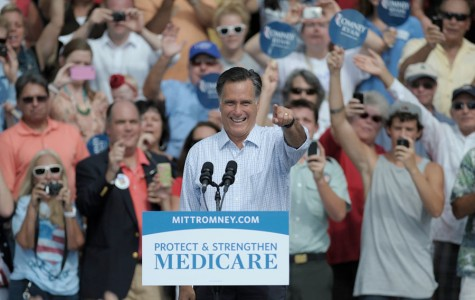 Republican presidential candidate Mitt Romney greets supporters Thursday, September 20, 2012, during a rally at the Ringling Museum of Art in Sarasota, Florida. (Paul Videla/Bradenton Herald/MCT)