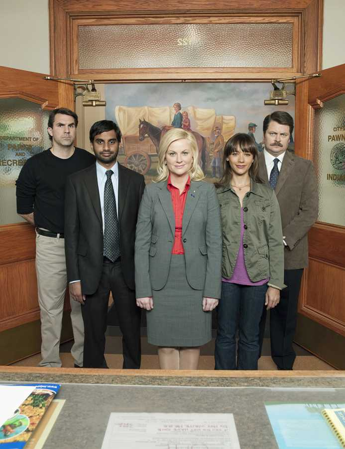Actors Paul Schneider as Mark Brendanawicz, from left, Aziz Ansari as Tom Haverford, Amy Poehler as Leslie Knope, Rashida Jones as Ann Perkins, and Nick Offerman as Ron Swanson star in NBC comedy