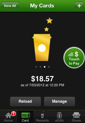 Screen shot of Starbuck's app.  Pay your order with your phone.