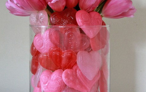 Here are some self-arranging ideas from iBulb for Valentine's Day. Heart-shaped soaps surround a bouquet of tulips. (Courtesy iBulb.org/MCT)