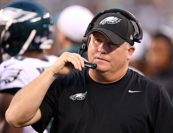 Philadelphia Eagles head coach Chip Kelly during the half against the New York Jets in preseson action on Thursday, Sept. 3, 2015, at MetLife Stadium in East Rutherford, N.J. (David Maialetti/Philadelphia Inquirer/TNS)