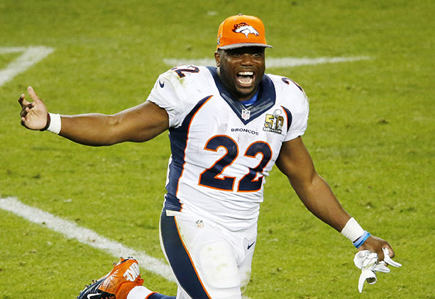 The Denver Broncos' C.J. Anderson (22) celebrates on the field after a 24-10 win against the Carolina Panthers in Super Bowl 50 at Levi's Stadium in Santa Clara, Calif., on Sunday, Feb. 7, 2016. (Gary Reyes/Bay Area News Group/TNS)