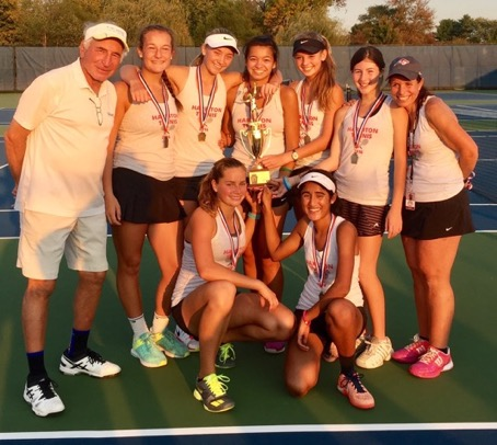 Pictured (L to R), after winning the District 1 championship - back row: Coach David Broida, Lauren Binnion, Connie Richards, Sonia Groeneveld, Nina Hoog, Shaina Ginsberg, Assistant Coach Laura Fanelli.  Front row: Sophia Sassoli, Roshni Parikh.  Not pictured: Sofia Kandoussi