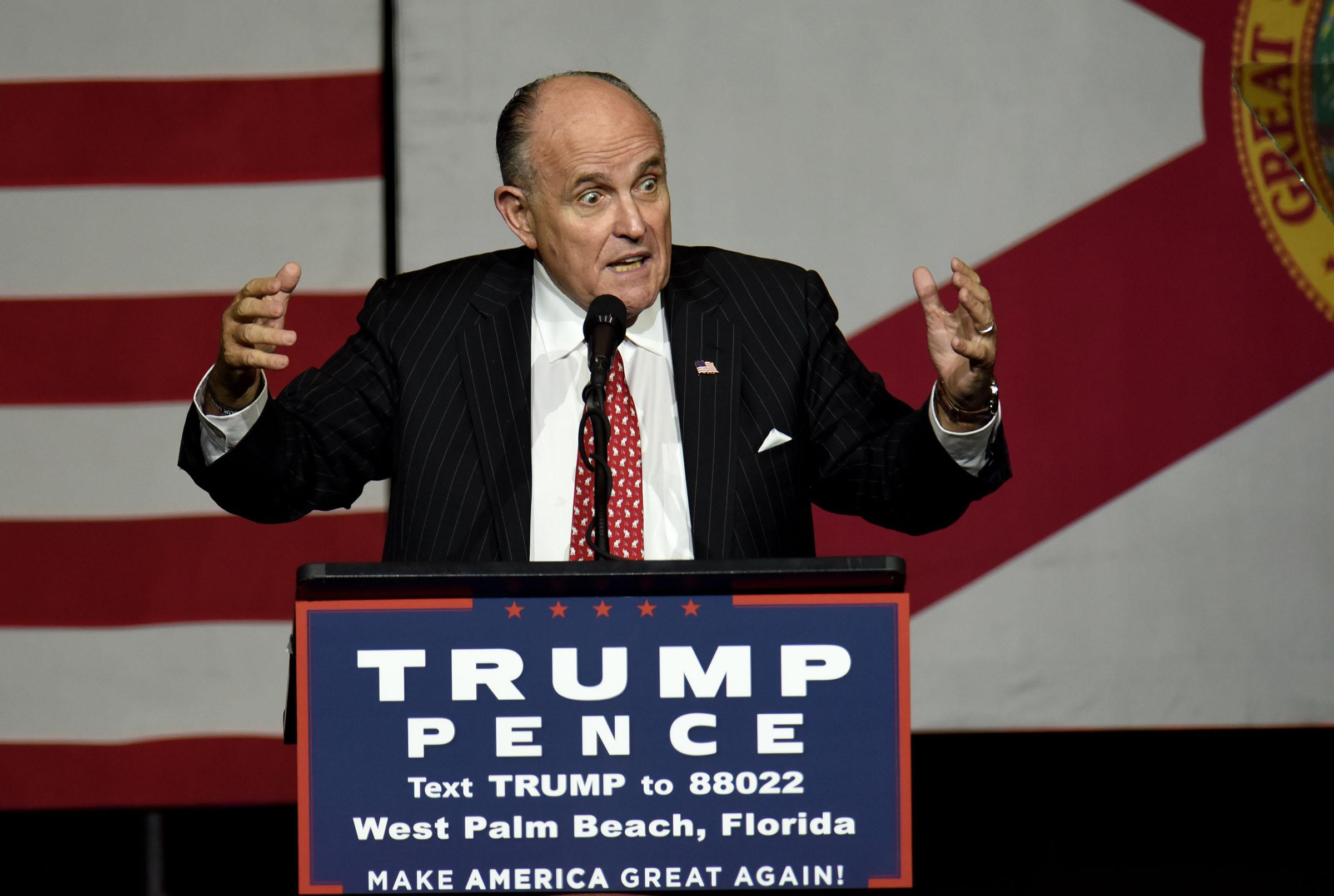 Former New York City Mayor Rudy Giuliani speaks during a campaign rally for Republican presidential candidate Donald Trump at the South Florida Fair Grounds in West Palm Beach, Fla., on Thursday, Oct. 13, 2016. (Maria Lorenzino/Sun Sentinel/TNS)