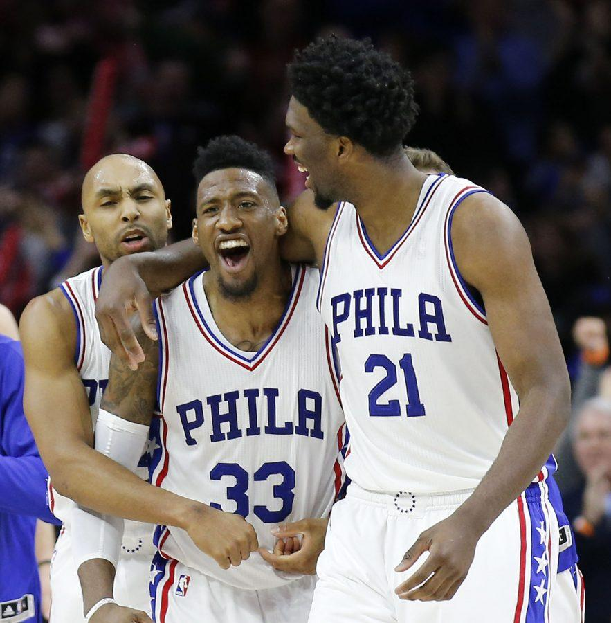 The+Philadelphia+76ers%27+Robert+Covington+%2833%29+celebrates+with+teammates+Joel+Embiid+%2821%29+and+Gerald+Henderson+after+a+93-92+win+against+the+Portland+Trail+Blazers+on+Friday%2C+Jan.+20%2C+2017%2C+at+the+Wells+Fargo+Center+in+Philadelphia.+%28Yong+Kim%2FPhiladelphia+Daily+News%2FTNS%29