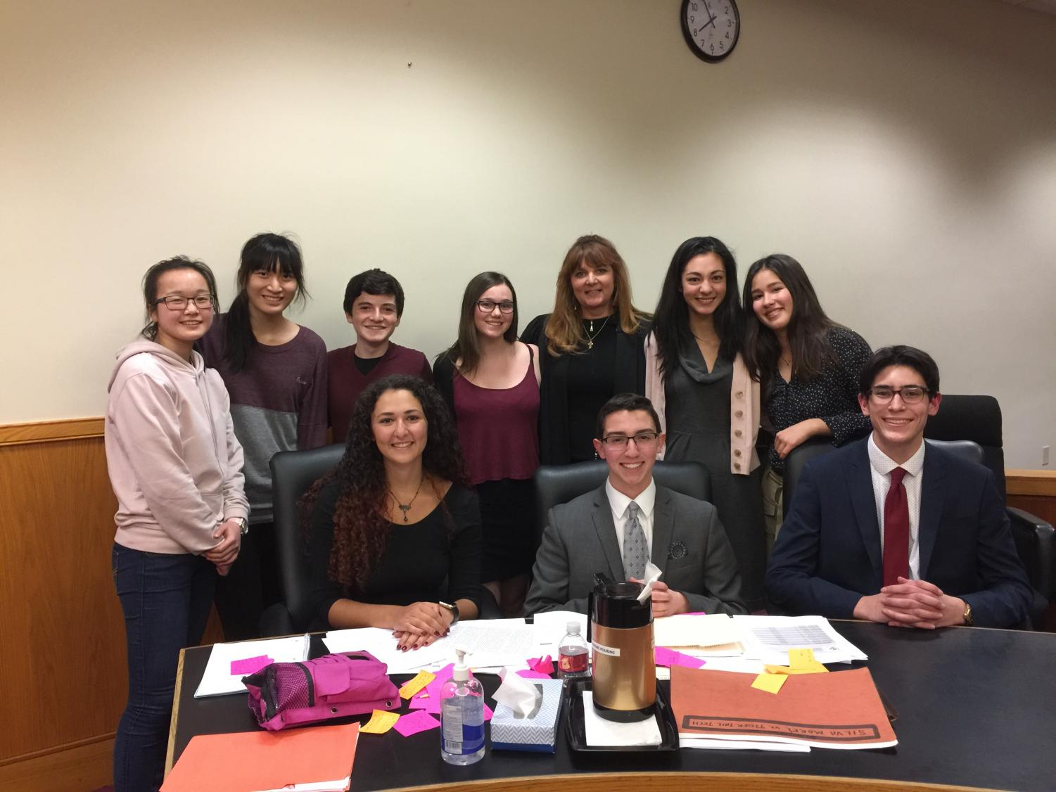 MOCK TRIAL TEAM Front Row left to right: Keren Katz, Ben Feldman, Jonah Samuels.  Back Row left to right: Bianca Xiao, Chihjung Chen, Evan Zales, Anna Fleming (The Judge), Anne-Sophie Bilello, Camille Furrer