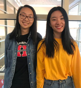 This year's captains of the Science Olympiad team, Allison Zhang and Sunme Zhao.