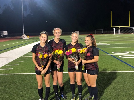 Seniors (L to R) Grace Honeyman, Kari Stein, Taylor Shinal, and Alex Turner