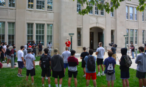 Harriton and Lower Merion football players outside of Lower Merion High School protesting the school board