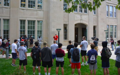 Harriton and Lower Merion football players outside of Lower Merion High School protesting the school board's decision to cancel the 2020-21 football season.