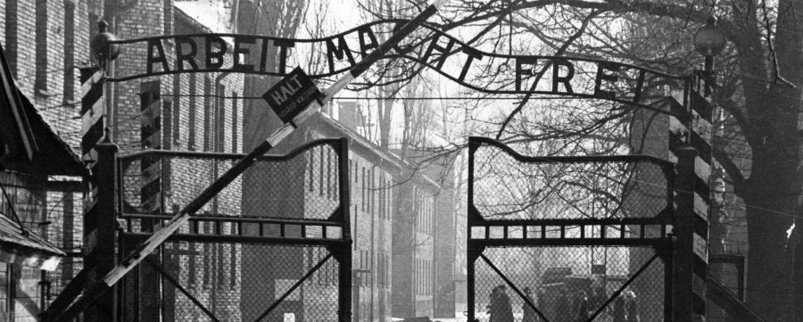 The gates of Auschwitz, the largest concentration death camp.
