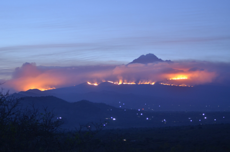 Fires rage at Kilimanjaro on October 15th, 2020. Source: New York Times.